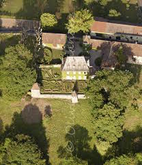 a birds-eye view of the house and gardens at Bilignin